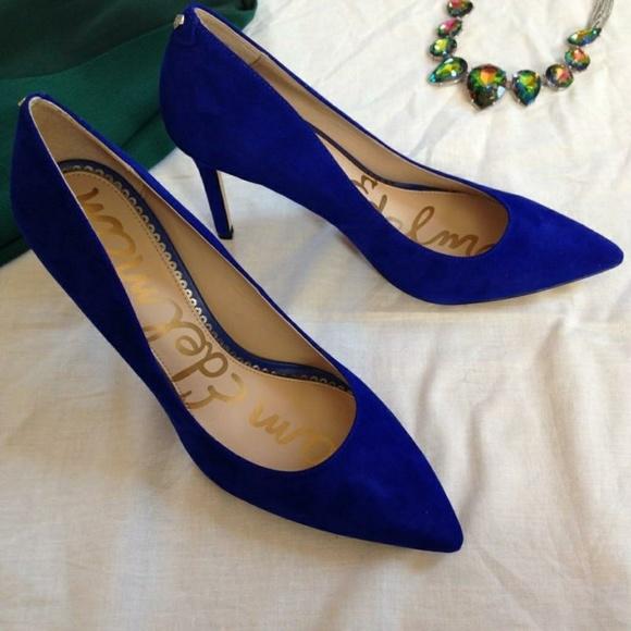 1e2ff0aae813 Sam Edelman Blue Suede Stilettos